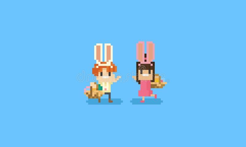 Niños del pixel con los oídos de conejo Día de Pascua ilustración del vector
