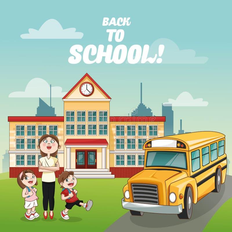 Niños del profesor que construyen el autobús de nuevo a diseño de la escuela libre illustration