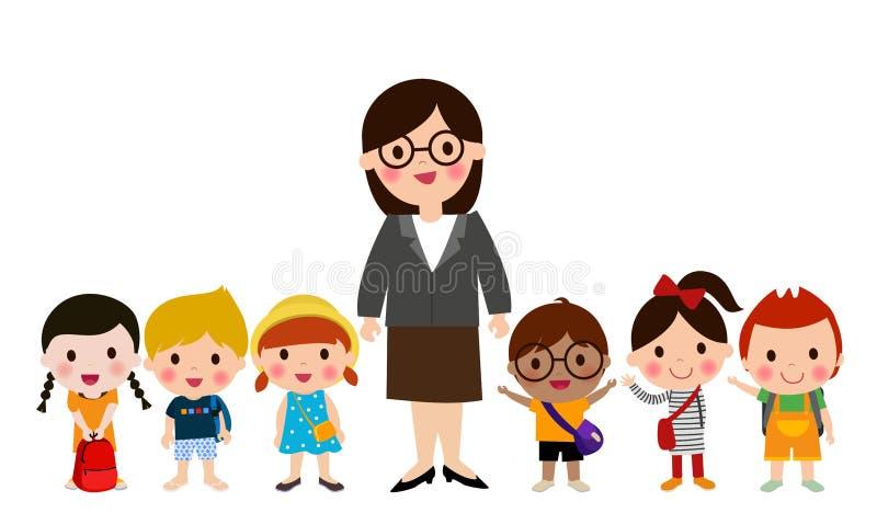 Niños del profesor y de la escuela libre illustration