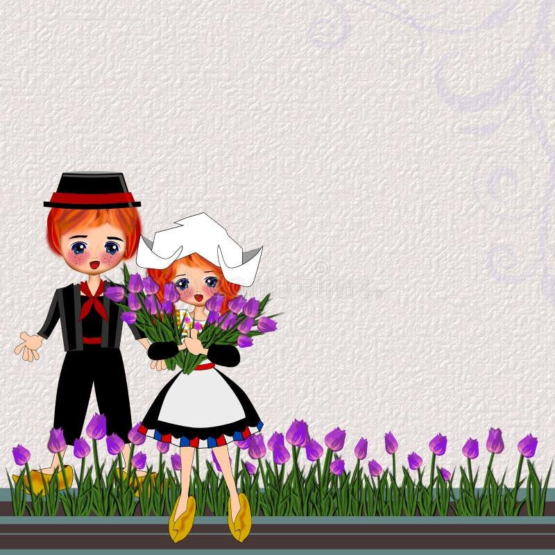 Niños del vintage en el traje tradicional de Netherland stock de ilustración
