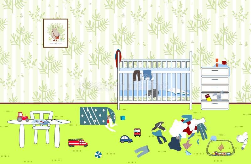 Niños desordenados y sitio sucio Juguetes y ropa dispersados niño Sitio del ` s de los niños Lío en la casa stock de ilustración