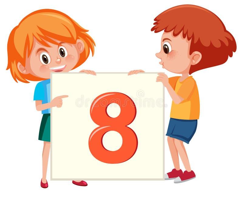Niños dirigidos rojos que llevan a cabo el número ocho ilustración del vector