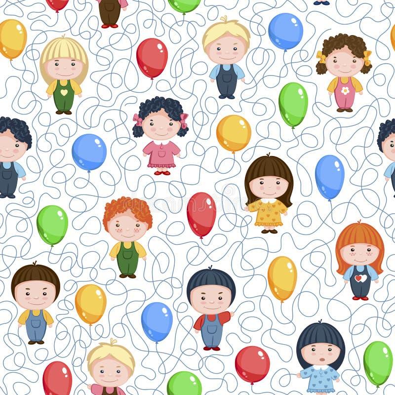 Niños divertidos de la historieta con los globos Modelo inconsútil del vector en el fondo blanco stock de ilustración