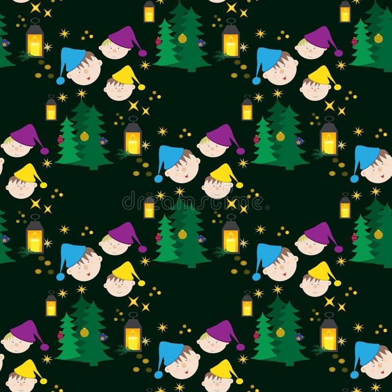 Niños divertidos del witn inconsútil del modelo de la Navidad en un casquillo ilustración del vector