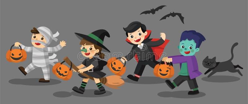Niños divertidos en trajes coloridos y un gato stock de ilustración