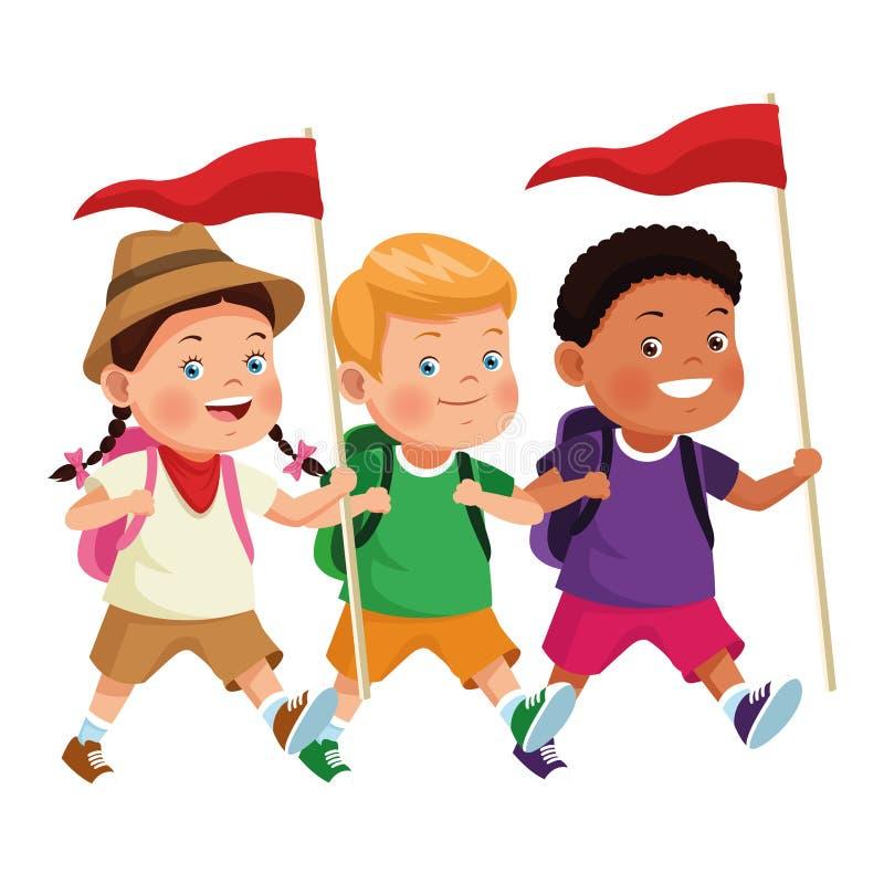 Niños e historietas del campamento de verano libre illustration