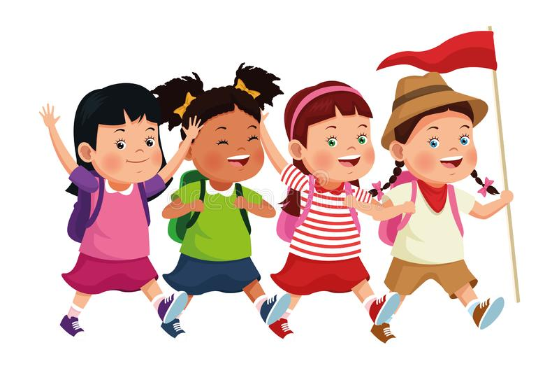 Niños e historietas del campamento de verano ilustración del vector