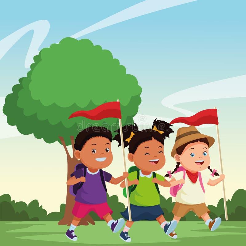 Niños e historietas del campamento de verano stock de ilustración