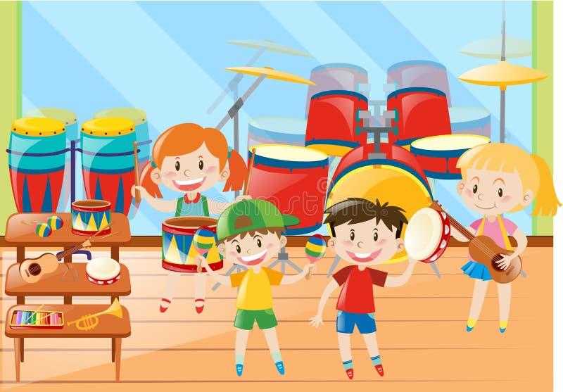 Niños e instrumento musical en sala de clase stock de ilustración