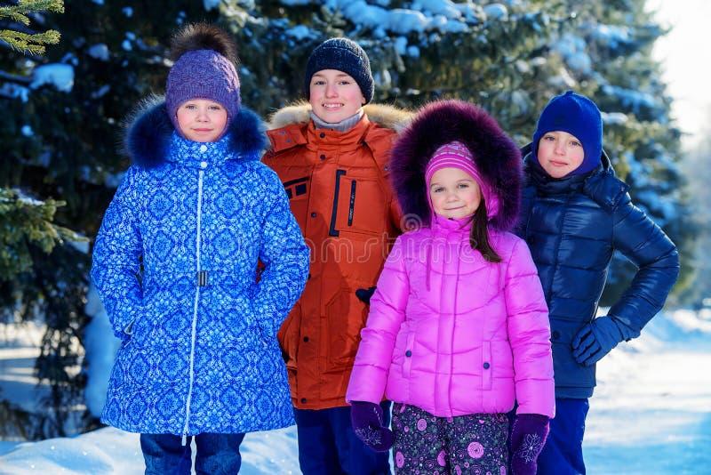 Niños en bosque del invierno foto de archivo
