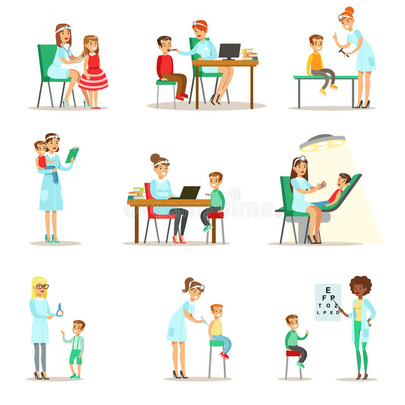 Niños en chequeo médico con el examen femenino de Doctors Doing Physical del pediatra ilustración del vector
