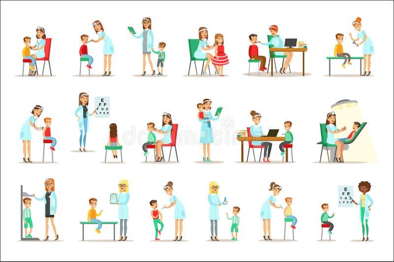 Niños en chequeo médico con el examen femenino de Doctors Doing Physical del pediatra para la salud del preescolar ilustración del vector