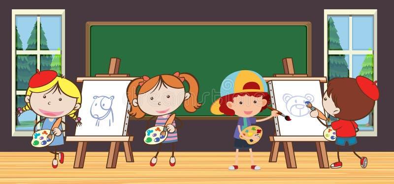 Niños en clase de dibujo en la escuela libre illustration
