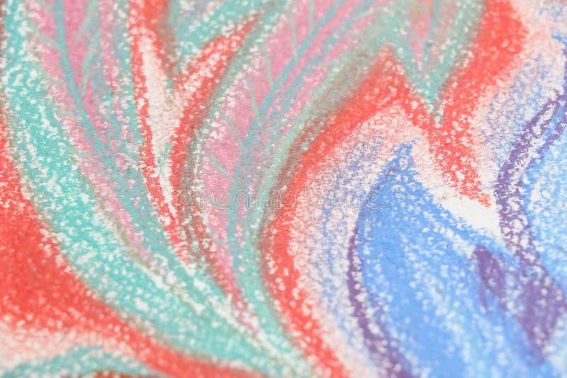 Niños en colores pastel del arte de la textura que dibujan la hierba foto de archivo libre de regalías