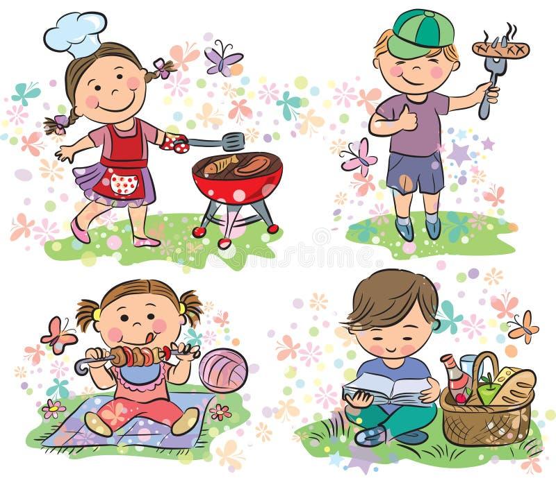Niños en comida campestre con la barbacoa ilustración del vector