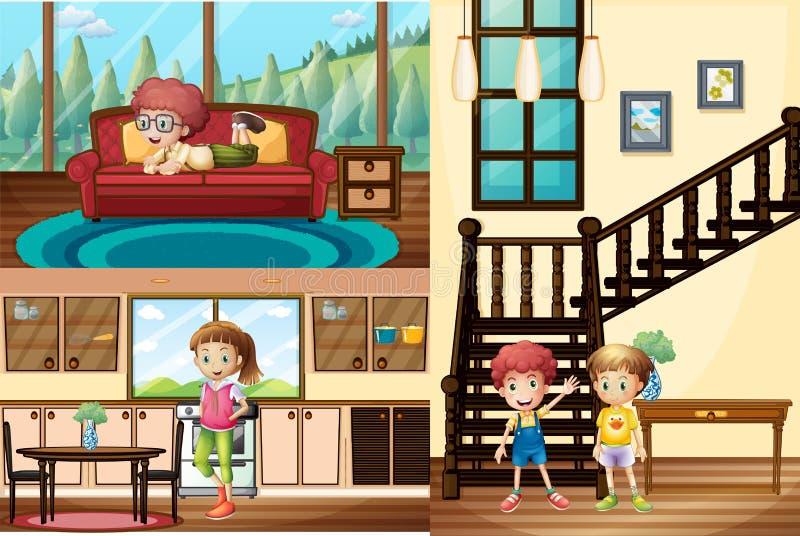 Niños en diversos cuartos de la casa ilustración del vector