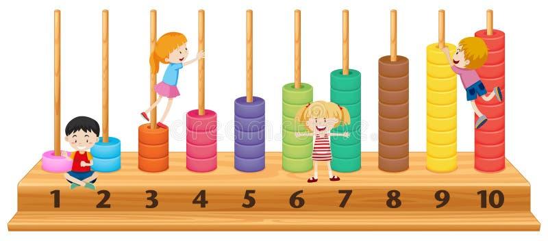 Niños en el ábaco colorido stock de ilustración