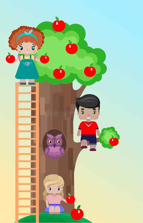 Niños en el césped con un manzano en una comida campestre stock de ilustración