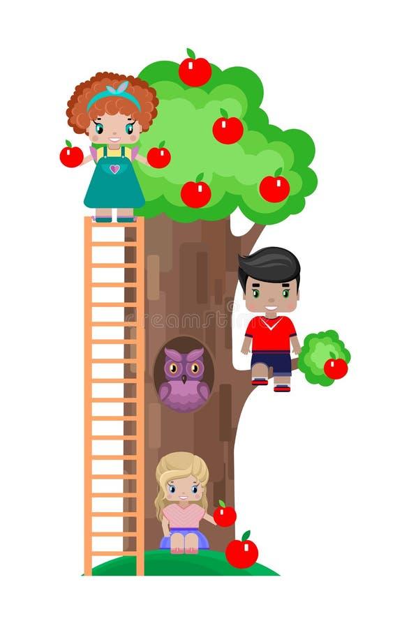 Niños en el césped con un manzano en una comida campestre Imagen aislada stock de ilustración