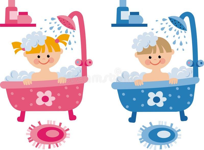 Niños en el cuarto de baño ilustración del vector