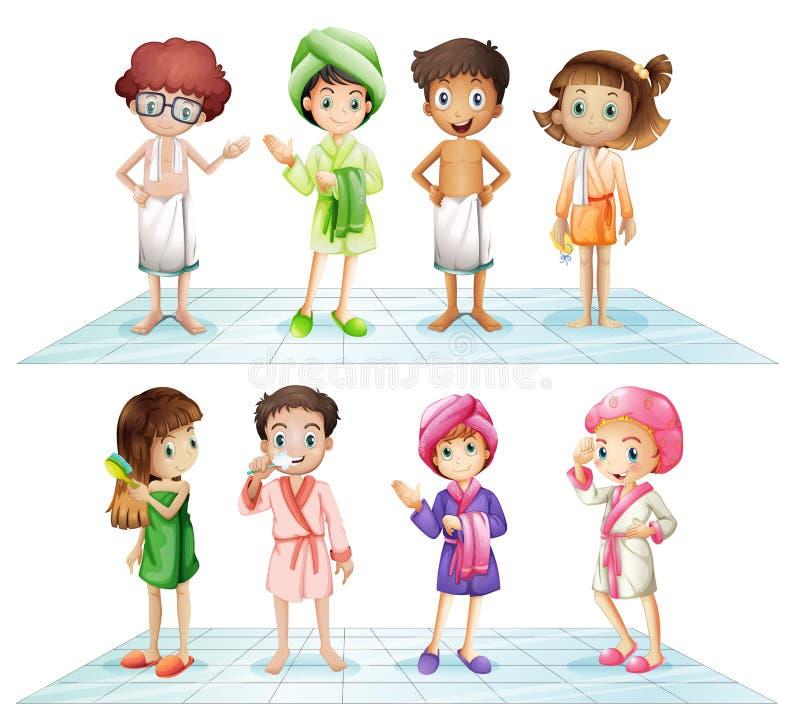 Niños en el cuarto de baño libre illustration