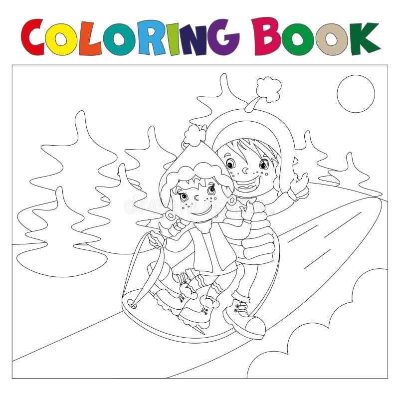 Niños En El Libro De Colorear Del Trineo Ilustración del Vector ...