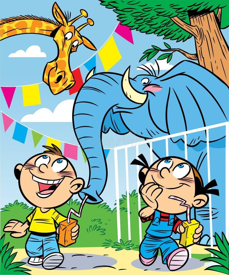 Niños en el parque zoológico ilustración del vector