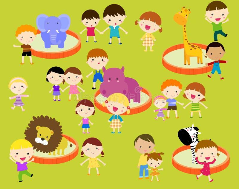 Niños en el parque zoológico stock de ilustración