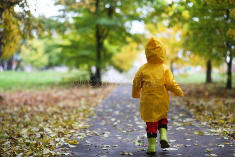 Niños en el paseo del parque del otoño fotografía de archivo libre de regalías
