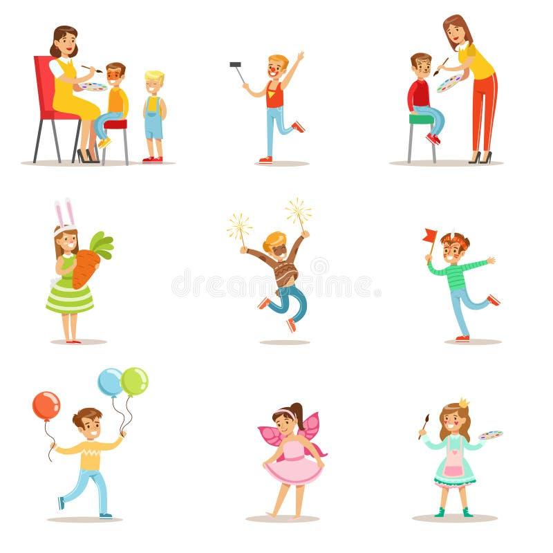 Niños en el sistema del partido del traje de ejemplos del vector con los niños sonrientes felices que hacen sus caras pintar y ilustración del vector