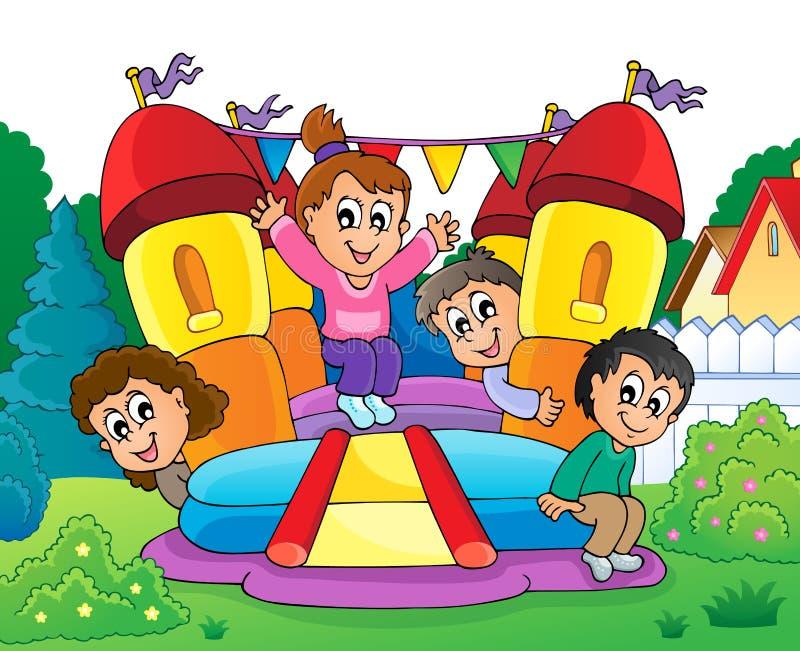 Niños en el tema inflable 2 del castillo ilustración del vector