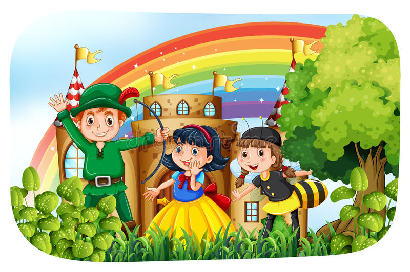 Niños en el traje que se divierte en el parque ilustración del vector