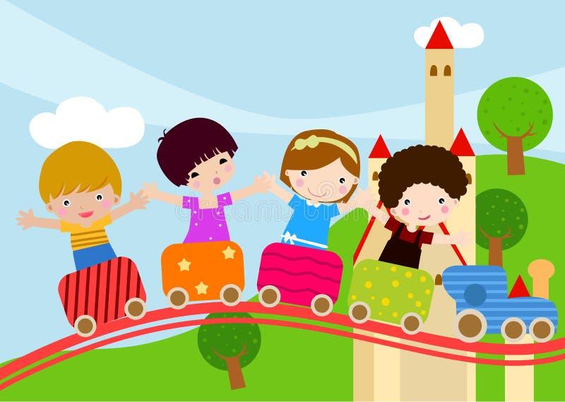 Niños en el tren ilustración del vector
