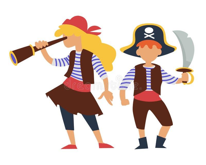 Niños en fiesta de cumpleaños de los niños del traje de los piratas o carnaval libre illustration