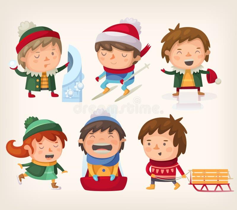 Niños en invierno libre illustration