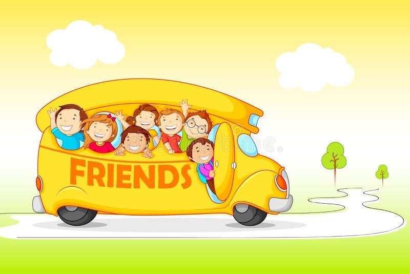 Niños en la excursión para el día de la amistad libre illustration