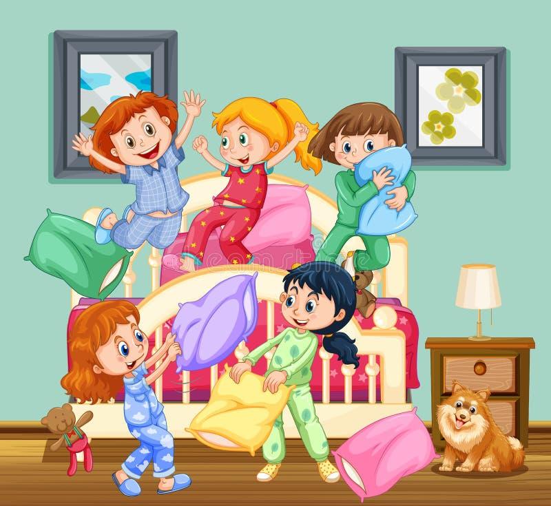 Niños en la fiesta de pijamas libre illustration