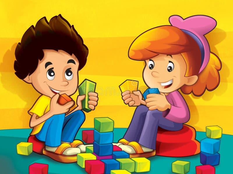 Niños en la guardería que juega bloques libre illustration