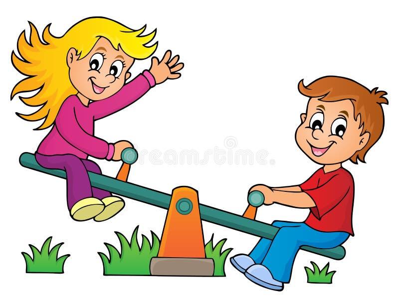 Niños en la imagen 1 del tema de la oscilación stock de ilustración