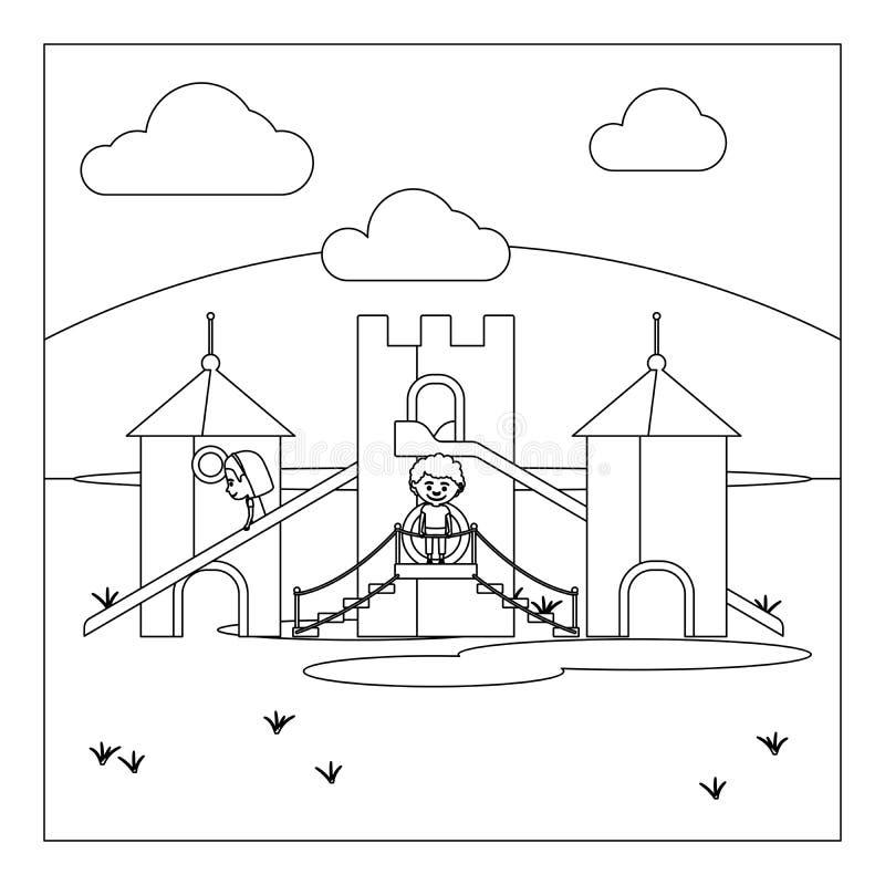 Niños en la página del libro de colorear del patio libre illustration