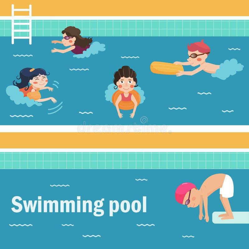 Niños en la piscina ilustración del vector
