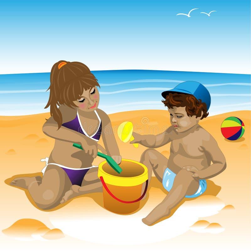 Niños en la playa libre illustration