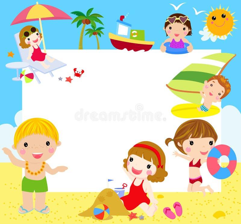 Niños en la playa con la bandera stock de ilustración