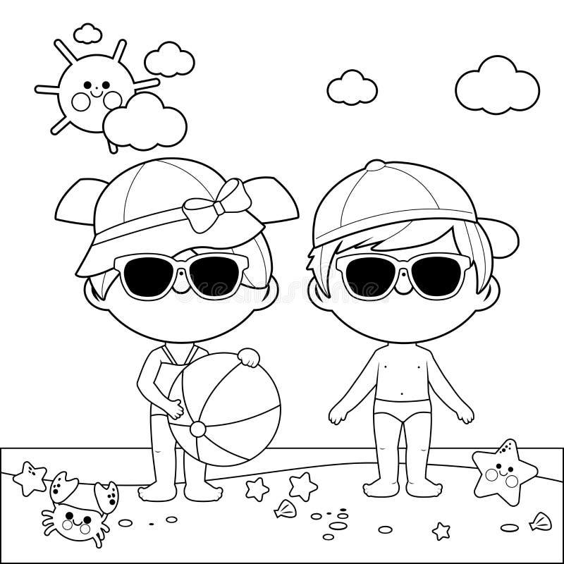 Niños en la playa con los sombreros y las gafas de sol Página blanco y negro del libro de colorear stock de ilustración