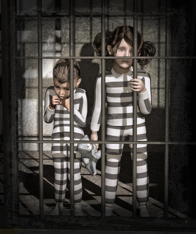 Niños en la prisión ilustración del vector