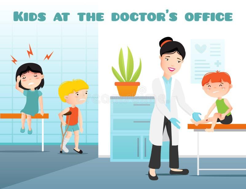 Niños en los doctores Office Cartoon Illustration ilustración del vector