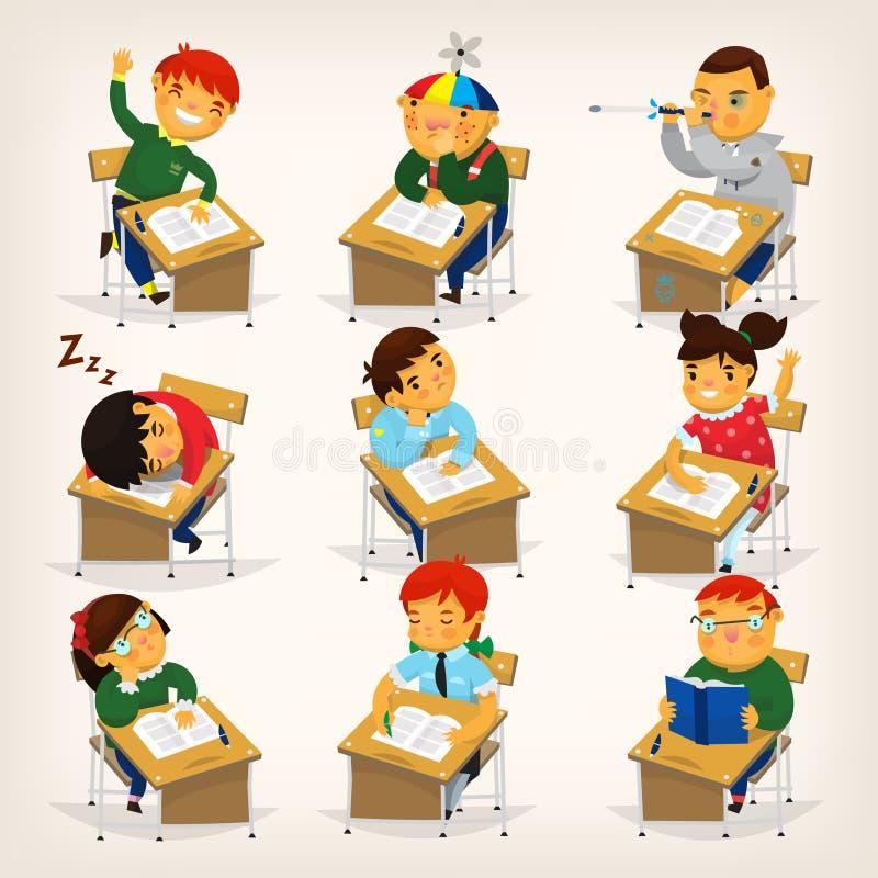 Niños en los escritorios stock de ilustración