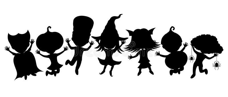 Niños en los trajes para Víspera de Todos los Santos stock de ilustración