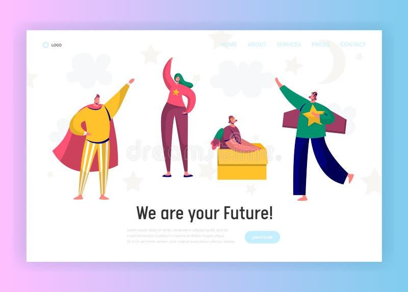 Niños en página del aterrizaje del juego del traje del super héroe Crecimiento de las medidas de la muchacha Carácter feliz del n ilustración del vector