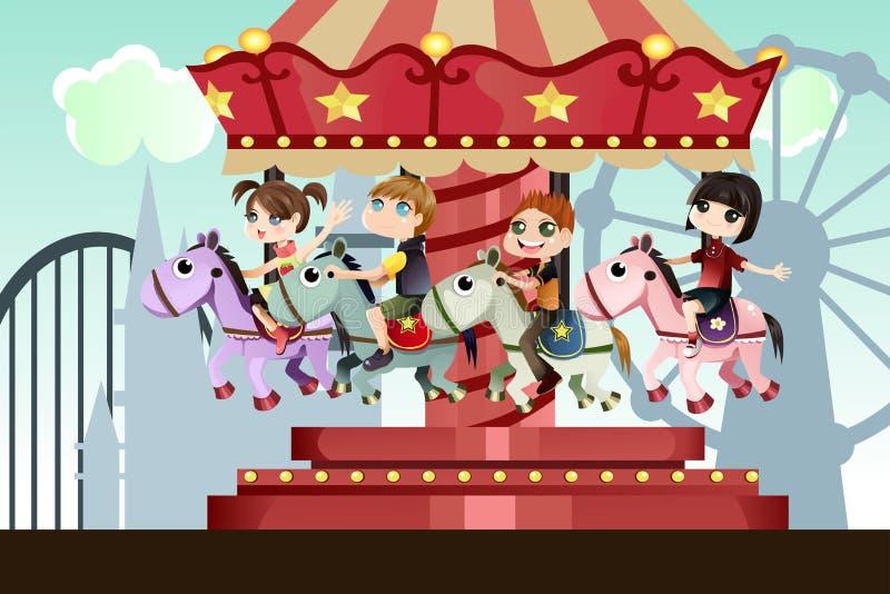 Niños en parque de atracciones stock de ilustración